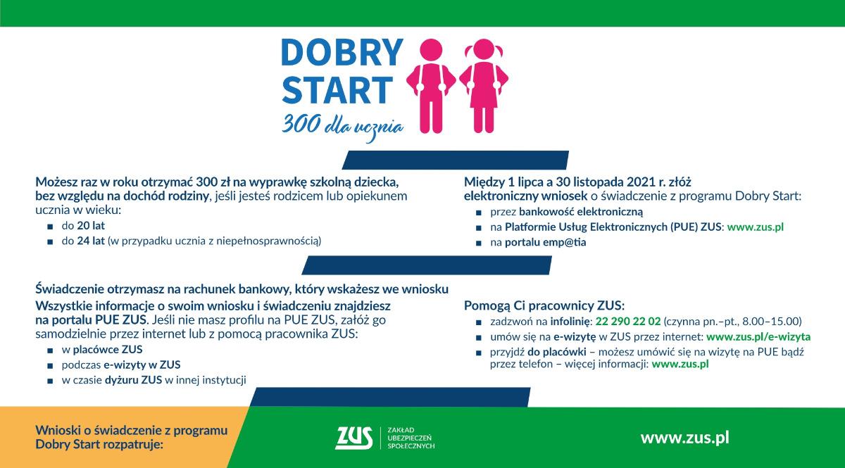 """Program """"Dobry Start"""" - informacja ZUS Wałcz"""