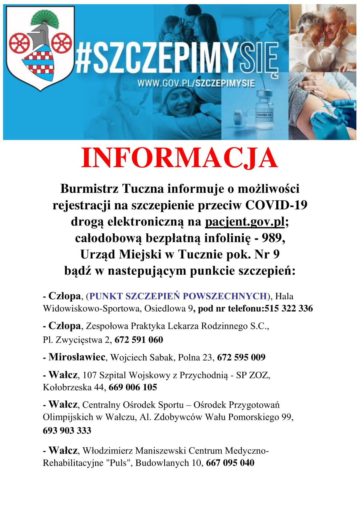 Informacja Burmistrza Tuczna - punkty szczepień